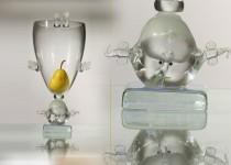 Mergaitė aukštyn kojom stiklo gaminiai