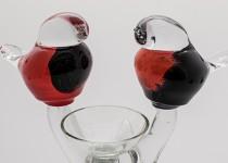 Birds with a candlestick stiklo gaminiai